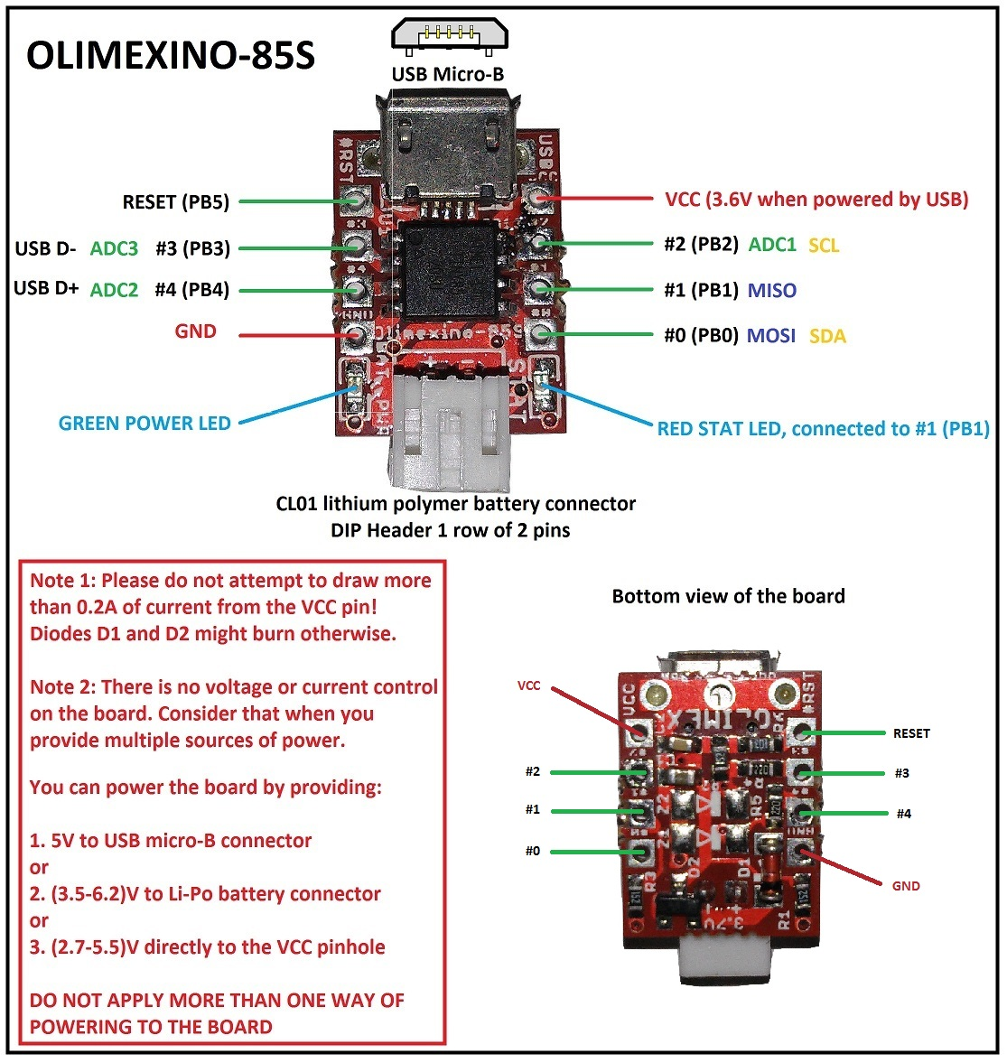 Olimexino 85s Olimex Ltd Development Boards Kits Programmers Lipo Battery Wiring Diagram Pinout