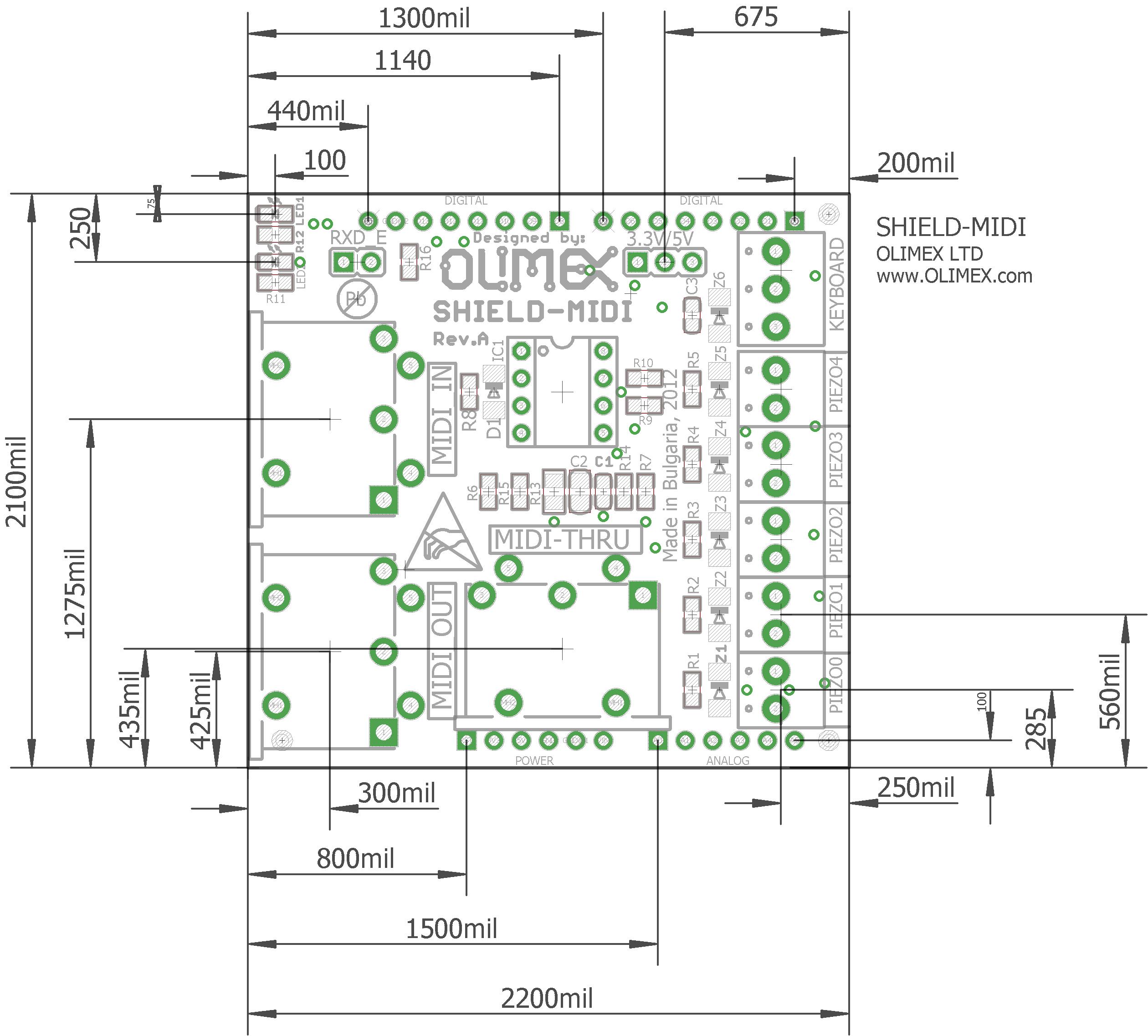 SHIELD-MIDI - Open Source Hardware Board