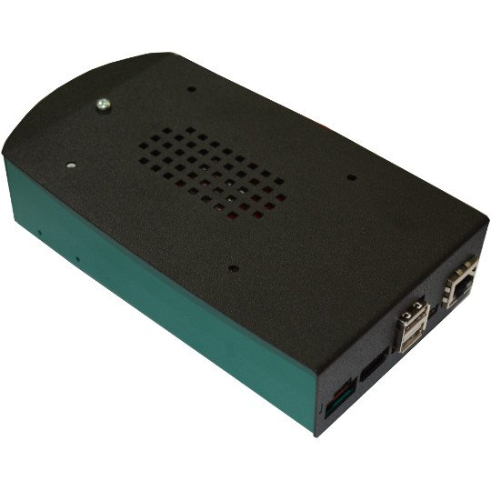 "Black-Green Metal Box for A20-OLinuXino-MICRO with space for 2.5"" SATA HDD inside"
