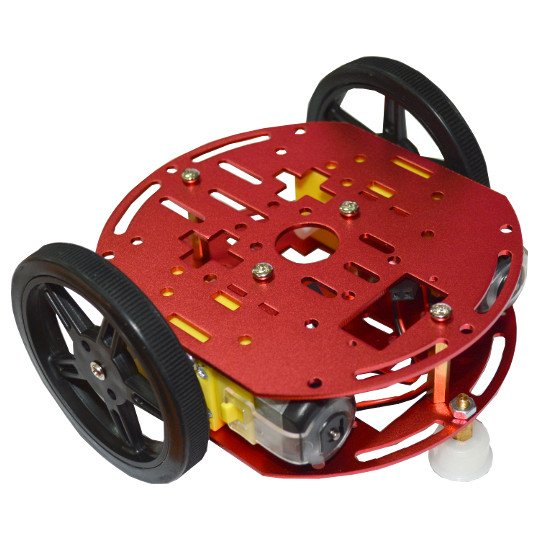 Metal Robot Chassis Kit with two wheels, two DC gear motors, one free wheel.
